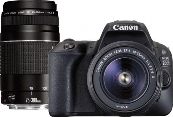Canon EOS 200D Black+EF-S 18-55+EF75-300